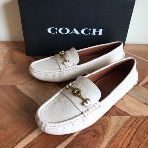 NEW Coach Crosby Driver Loafer White Leather
